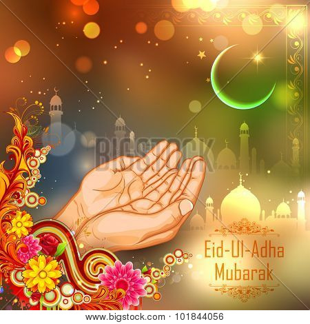 illustration of pair of hand praying for Eid ul Adha (Happy Bakrid) background with mosque