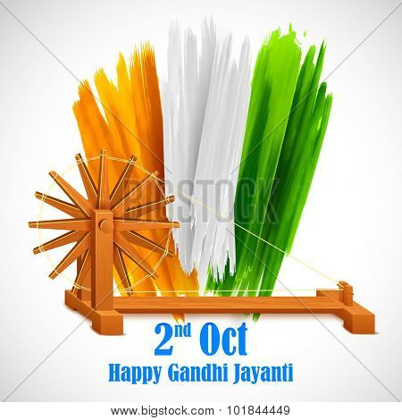 illustration of spinning wheel on India background for Gandhi Jayanti