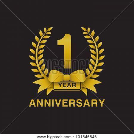 1st anniversary golden wreath logo black background