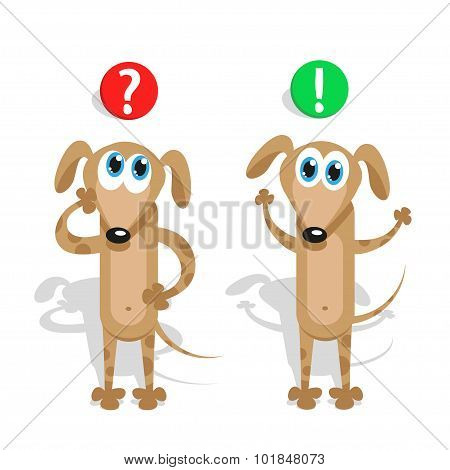 Question and answer in the mind at a pet puppy. Vector concept illustration.