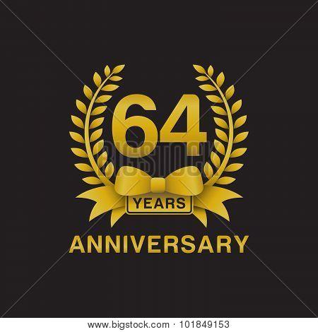 64th anniversary golden wreath logo black background