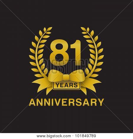 81st anniversary golden wreath logo black background
