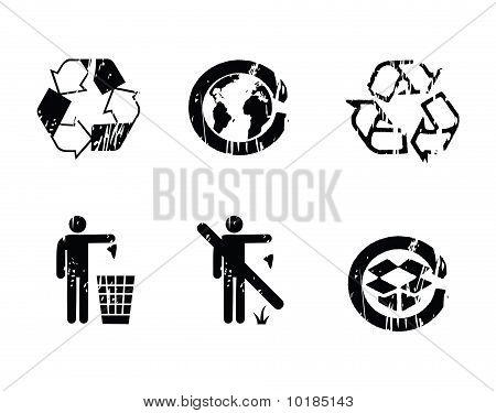 recycle symbols grunge