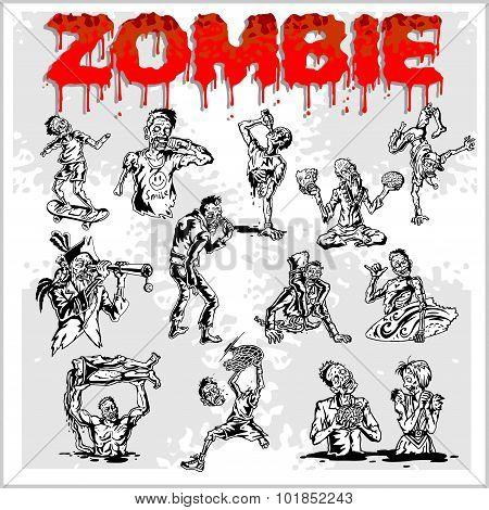 Cartoon zombie - vector set.