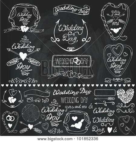 Wedding decor elements set.Labels,cards,invitations.Chalkboard