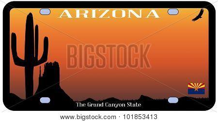Arizona State License Plate