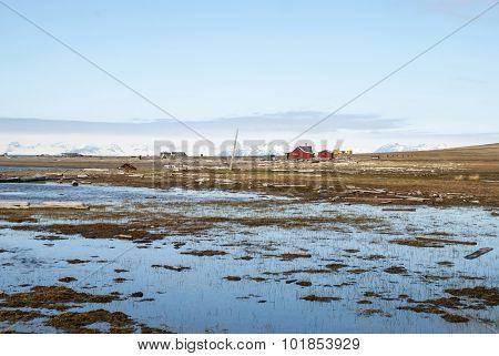 Remote Scandinavian Huts Close To Longyearbyen, Svalbard