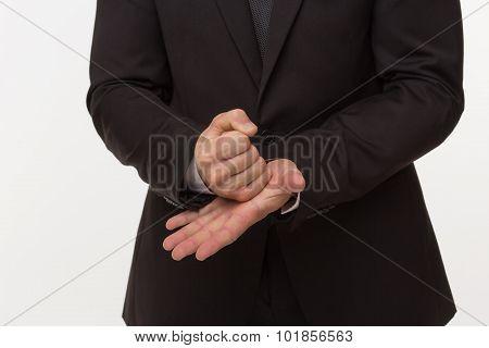 Stop gesture of businessman