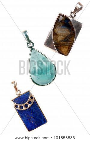 Silver Gemstones Pendants