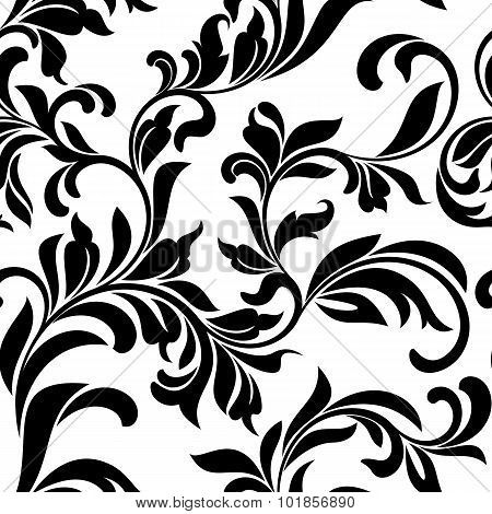 Seamless Pattern With White Floral Tracery On A White Background