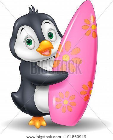 Cartoon Penguin holding surfing board