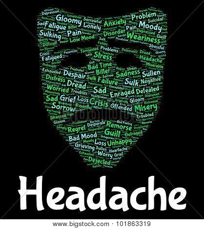 Headache Word Shows Text Headaches And Megrim