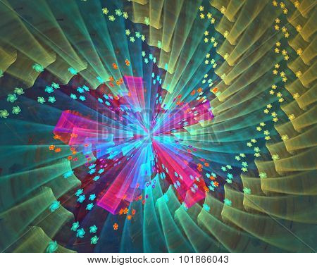 Fractal star flower background
