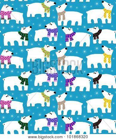 Polar bears on blue background
