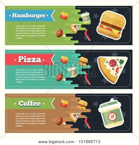 Vector concept fast food flat banner set. Flayer, poster. Coffee, pizza, hamburger, french fries and