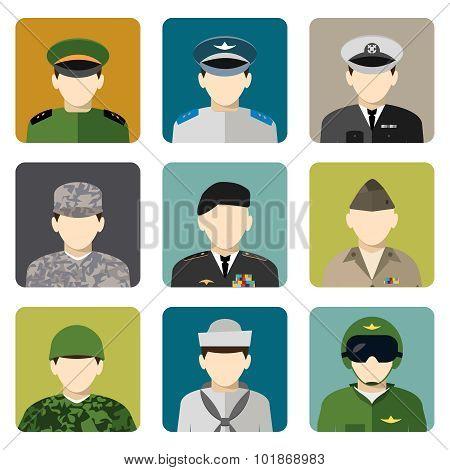 Military social network avatar icons set