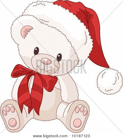 Cute Teddy Bear With Santa's Hat