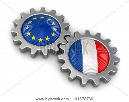 French and European union flags on a gears (clipping path included)