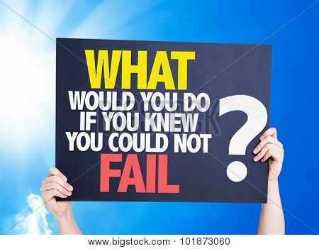 What Would You Do If You Know You Could Not Fail? placard with sky background