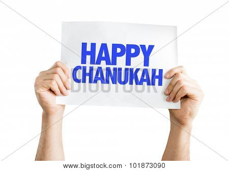 Happy Chanukah placard isolated on white
