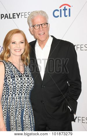 LOS ANGELES - SEP 16:  Marg Helgenberger, Ted Danson at the PaleyFest 2015 Fall TV Preview -