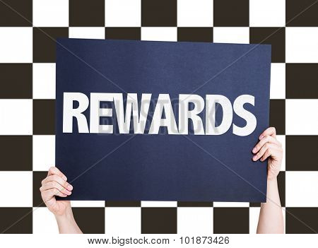 Rewards placard with checkered flag on background poster