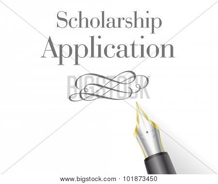 illustration of a Scholarship Application with fountain pen