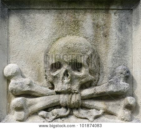 Skull and crossbones crossed detail architecture cemetery. poster