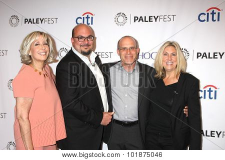 LOS ANGELES - SEP 16:  Carol Mendelsohn, Anthony E. Zuiker, Jonathan Littman, Ann Donahue at the Fall TV Preview -