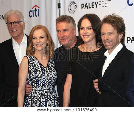 LOS ANGELES - SEP 16:  Ted Danson, Marg Helgenberger, W Petersen, Jorja Fox, J Bruckheimer at the Fall TV Preview -
