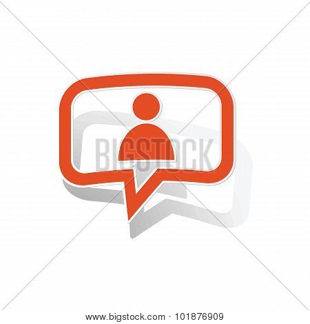 User message sticker, orange