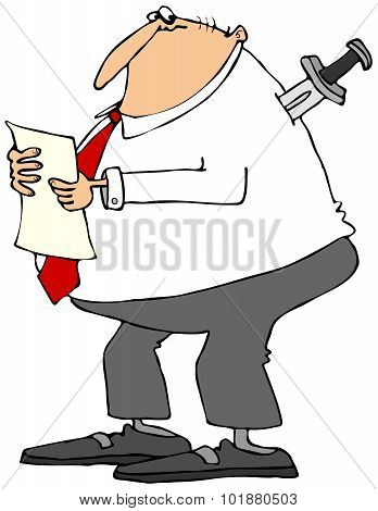 Businessman with knife in back