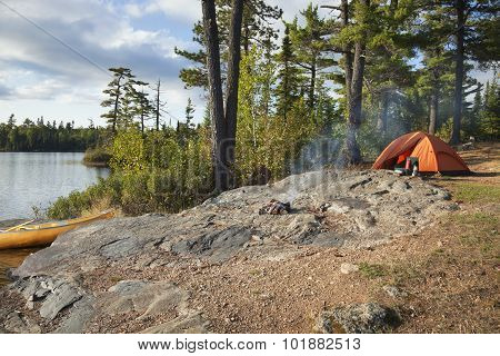 Campsite On Boundary Waters Lake In Northern Minnesota