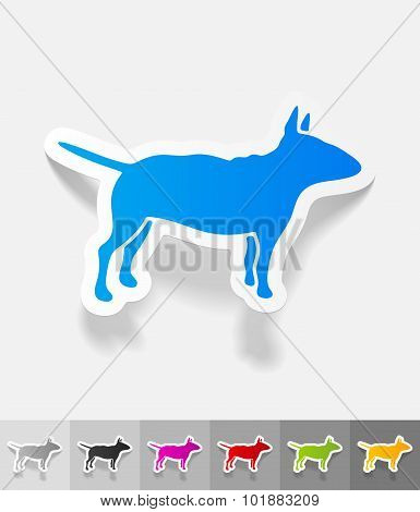 realistic design element. bull terrier