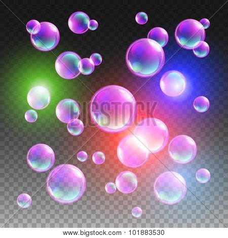 Transparent Multicolored Soap Bubbles Vector Set On Plaid Background. Sphere Ball, Design Water And