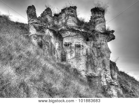 Landscape with rock formations in black and white