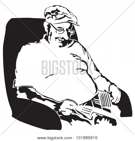 Grandfather taking a nap after lunch - vector illustration poster