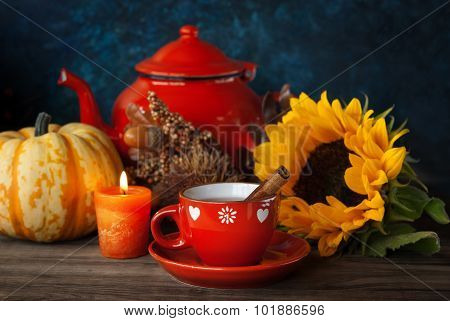 Tea And Autumn Decor