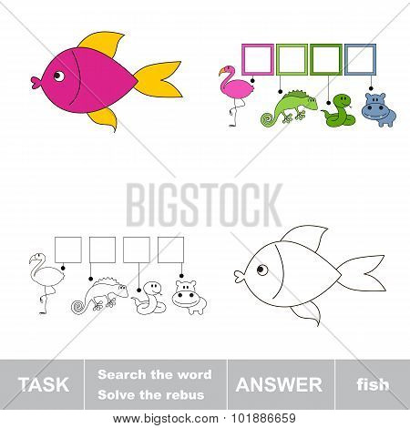 Solve the rebus. Find hidden word fish.Task and answer. Search the word. poster