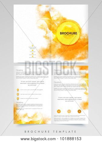 Orange color splash decorated, Creative professional Business Brochure, Template or Flyer design with front and back side presentation.