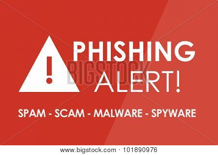 PHISHING Alert concept - white letters and triangle with exclamation mark poster