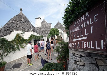 ALBEROBELLO, ITALY - THURSDAY, JULY 23, 2015:  Exterior views of Trullo homes  in Alberobello. A trullo is a traditional hut with a conical roof.  Photographer: Mark Milstein/ Northfoto