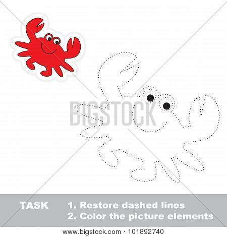 One cartoon crab. Restore dashed line and color picture. Trace game for children. poster