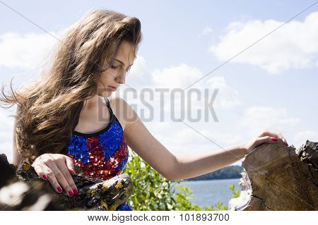 Beauty Teen Girl In Blue Uk Dance Costume