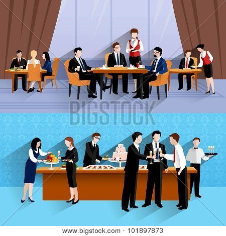 Business people lunch at work two horizontal banners composition of company cantina buffet abstract isolated vector illustration poster