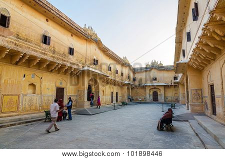 Jaipur, India - December 30, 2014: Tourist Visit Traditional Architecture, Nahargarh Fort In Jaipur