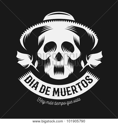 Mexican day of the dead monochrome illustration.