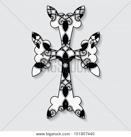 Stock Vector Cross On The Grey Background