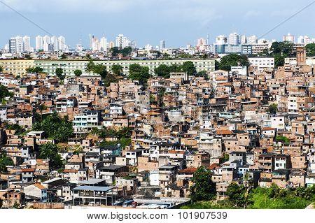 Poor neighborhood and modern buildings of Salvador Bahia Brazil poster