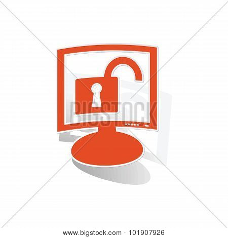Unlocked monitor sticker, orange chat bubble with image inside, on white background poster